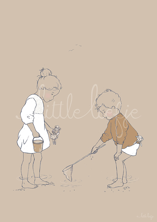 Children's Art Print - Paddling - Little Liefje