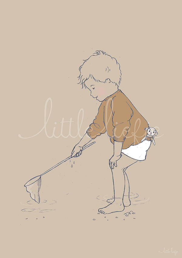 Children's Art Print - Fishing - Little Liefje