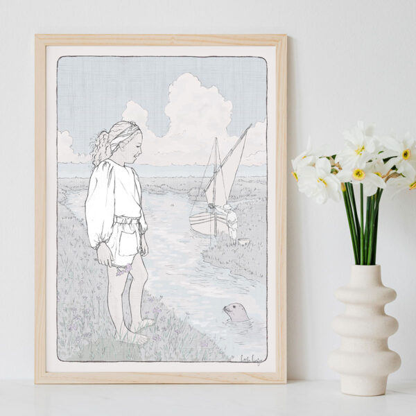 Illustration Art Print 'Saffron by the Sea'