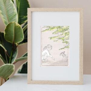 Illustration Art Print 'Teal & the Deer'