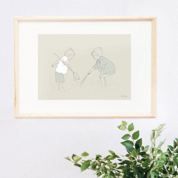 Illustration Art Print 'Paddling in the Shallows 4'