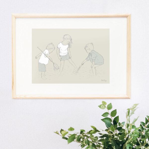 Illustration Art Print 'Paddling in the Shallows 5'