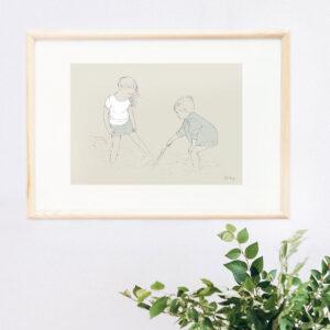 Illustration Art Print 'Paddling in the Shallows 3'