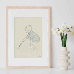 Illustration Art Print 'Paddling in the Shallows 2'