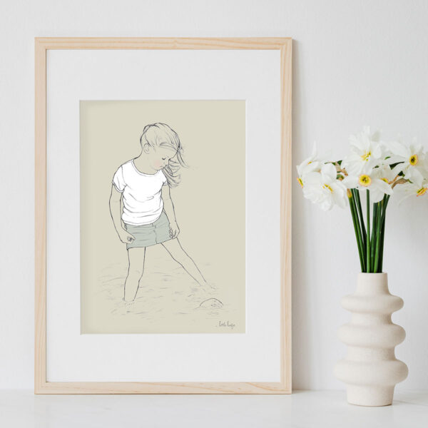 Illustration Art Print 'Paddling in the Shallows 1'